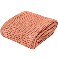 "Linen Bath Towel 100% Pure Flax Cotton Towel - Size 31.5"" x 55.1"" inch, Copper Red Folded"