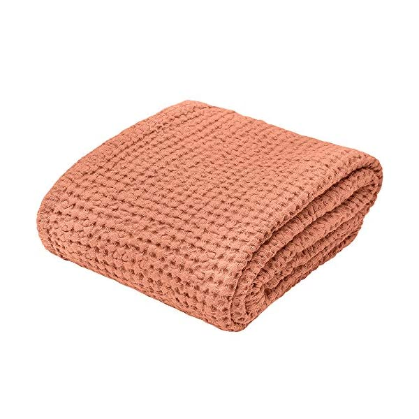 """Linen Bath Towel 100% Pure Flax Cotton Towel - Size 31.5"""" x 55.1"""" inch, Copper Red Folded"""