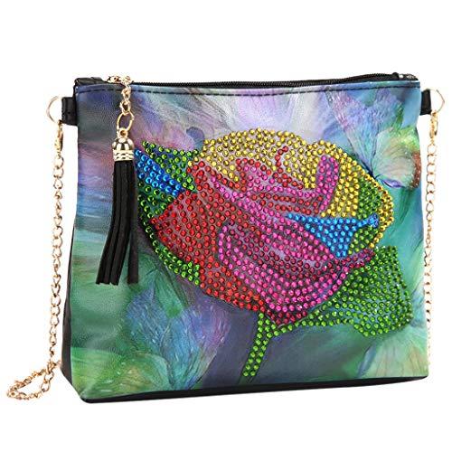 Frauen Fashion Trend Tasche Kette Umhängetasche DIY Diamant Stickerei Kunstleder Crossbody Taschen Vielseitige Tasche (One size, F)