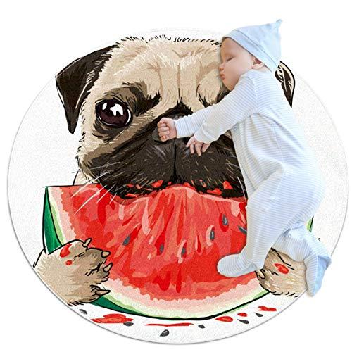 Alfombra Redonda Bulldog Comiendo sandía Alfombra Redonda decoración Arte Antideslizante niños Lavables a máquin Suave Sala Estar Dormitorio de Juegos para 70x70cm