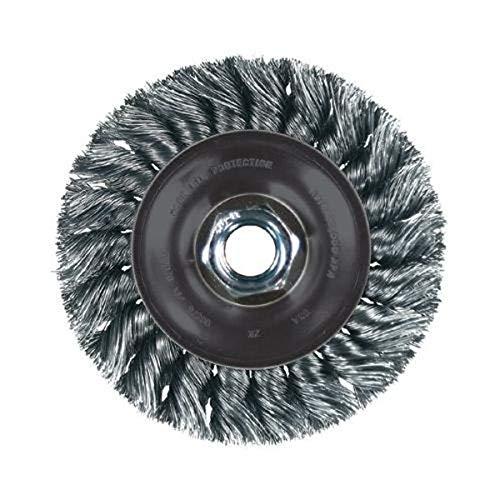 PFERD 82315 Power Knot Wheel Brush with Stringer Bead Twist, Threaded Hole, Stainless Steel Bristles, 4-1/2
