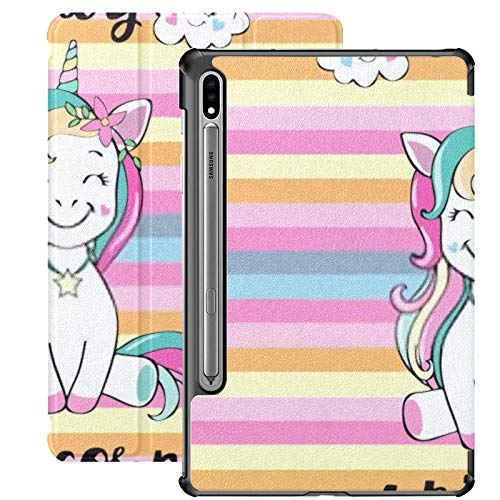 Galaxy Tablet S7 Plus 12.4 Inch Case 2020 With S Pen Holder, Cute Unicorn Inscription Baby Slim Stand Protective Folio Case For Samsung