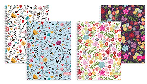 Silvine A4 Twin Wire Notebook Assorted Hearts & Flower Patterns - Single