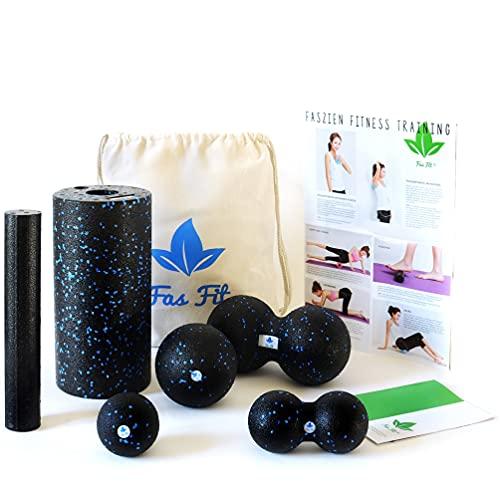 Fas Fit Faszienrolle - 6teiliges Foam Roller Set aus 2 Massagerollen & 4 Faszienbällen - inkl. Poster, Übungsheft, E-Book und Turnbeutel (Schwarz/Blau - 6 in 1 Set)