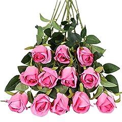 Idea Regalo - Tifuly - Fiori artificiali, 12 pezzi, a stelo lungo, con rose finte in seta, bouquet da sposa, fiori realistici per matrimoni, feste, casa, decorazione da tavolo (boccioli, rose rosse)