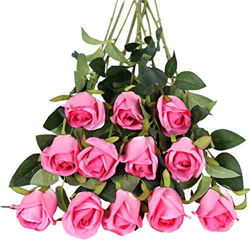 Tifuly - Fiori artificiali, 12 pezzi, a stelo lungo, con rose finte in seta, bouquet da sposa, fiori realistici per matrimoni, feste, casa, decorazione da tavolo (boccioli, rose rosse)