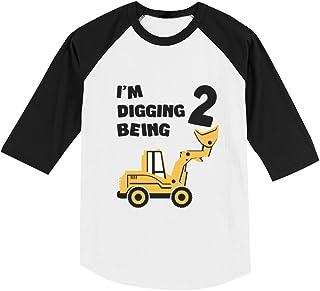 2nd Birthday Bulldozer Construction Party Toddler Raglan 3/4 Sleeve Baseball Tee
