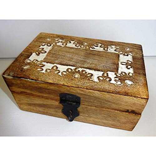 1a-becker Holzschatulle für kleine Dinge 15x10cm Aufbewahrung Holz Truhe Schmuckschatulle Kiste