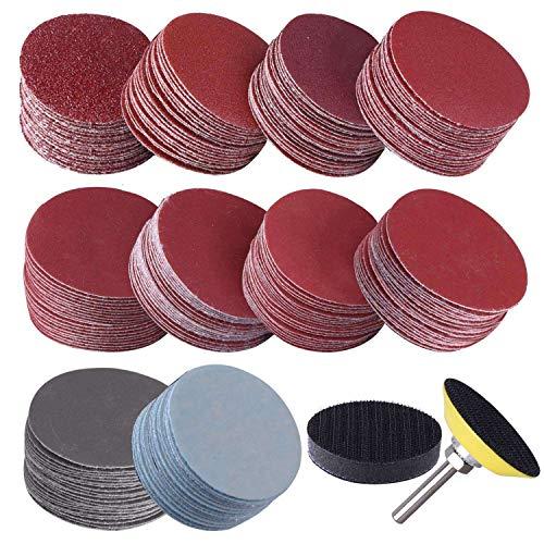 Monland 200 discos de lija de 50 mm y 2 pulgadas, grano 80 – 3000 con placa de pulido de 1 pulgada + mango de 1/4 pulgadas para herramienta de rotación.