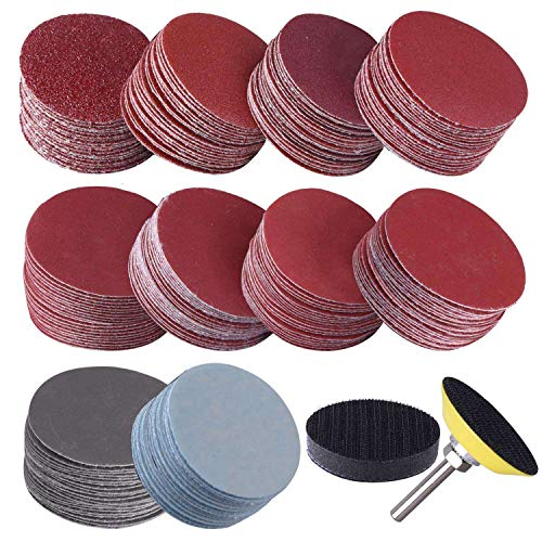 Jaimenalin 200Pcs 50mm 2 Inch Sander Disc Sanding Discs 80-3000 Grit Paper with 1Inch Abrasive Polish Pad Plate + 1/4 Inch Shank for Rotary Tool