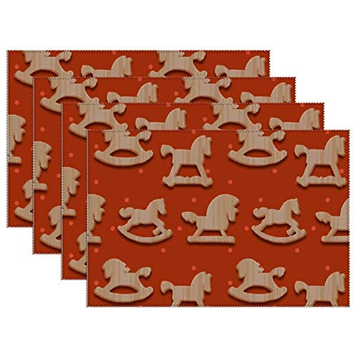 'N/A' Christmas Placemats Table Mats Set of 6, Rocking Toys Horses Non Slip Winter New Year Place Mat for Dining Home Decoration, 12x18 Inch