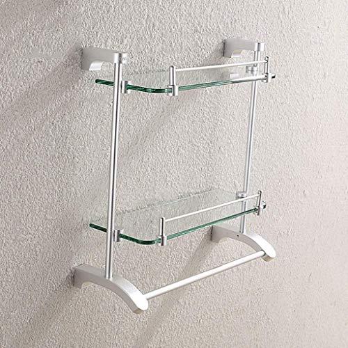 NYDZDM Badkamer-glasplaat, 2-laags doucheplank, met kamer-aluminium handdoekhouder, badkamer-plankglas