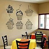 HGFDHG Calcomanía de Pared para Cupcakes, Pegatina para Ventana de pastelería, Mural, cafetería, pastelería, pastelería, Tienda de postres, decoración de Interiores, Arte de Pared de Vinilo