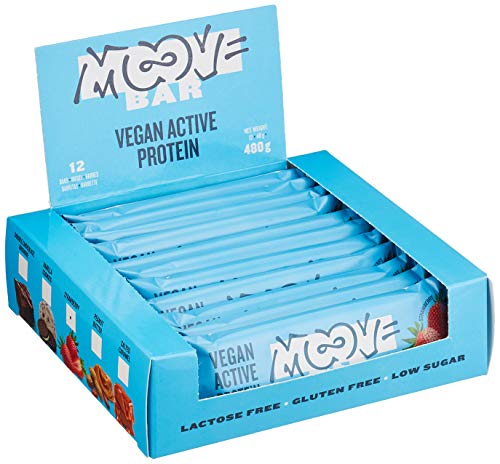 Moove - Barrita de proteínas vegana, sabor a fresa