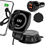 Cegar Magnetic Wireless Car Charger,10W/7.5W Qi Fast Charging, QC 3.0 Car Charger, Windshield Dash Dashboard Phone Holder Compatible with Phone 12/11/XS/X/8, Samsung S20/10 /9 Note10