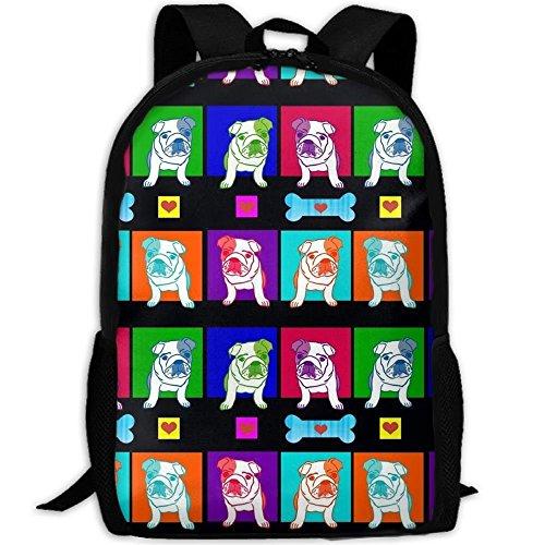 Nieuwe regenboog Bulldog botten hart 3D print rugzak college school laptop tas daypack travel schoudertas voor unisex