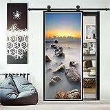 Sunset Ocean Door Sticker Autoadhesivo Art Door Poster Renovación Decoración del hogar para Sala de Estar Estudio Mural A22 95x215cm