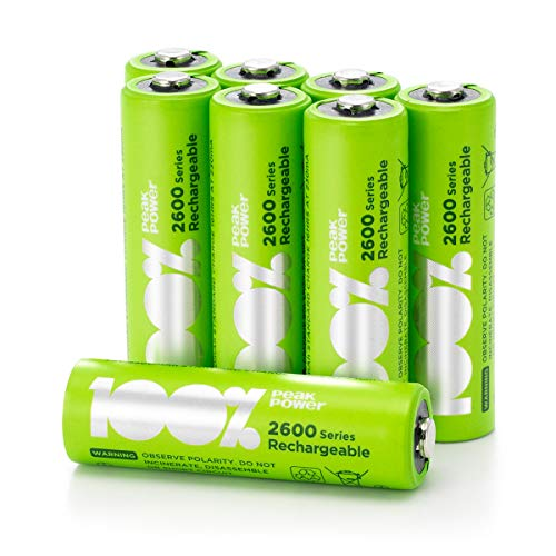 100{53fa5193d424be8ff556cd0e9f9d75b7f66f64403a164f291661118f39a2c3f1} PeakPower Akku AA, 8 Stück AA Batterien wiederaufladbar, min. 2300mAh, NiMH Technologie ohne Memory-Effekt, 1,2 Volt (1,2V), LSD Technologie, Ready-to-Use