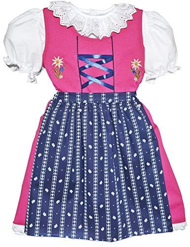 Schrammel Kinderdirndl Edelstickerei Rosa Dirndl Bluse im Set Blumenrankerl Schuerze (Rosa-Navy, 98)