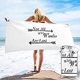Sunmuchen Toalla de baño Not All Who Wander are Lost, toalla de gimnasio, toalla de playa, uso multiusos para deportes, viajes, súper absorbente, microfibra suave de secado rápido, ligero