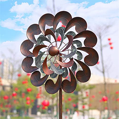 ZCZC Retro Flower Metal Windmill,Kinetic Wind Spinner,Dual Direction Wind Sculpture,360 Degrees Wind Wheel,Wind Catcherfor Garden,Yard,Lawn,Patio