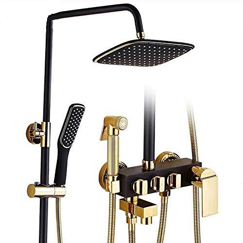 Sebasty Juego de ducha de oro negro europeo de ducha de cobre de elevación completa Supercharge Key Overhead grifo de ducha (sección F)
