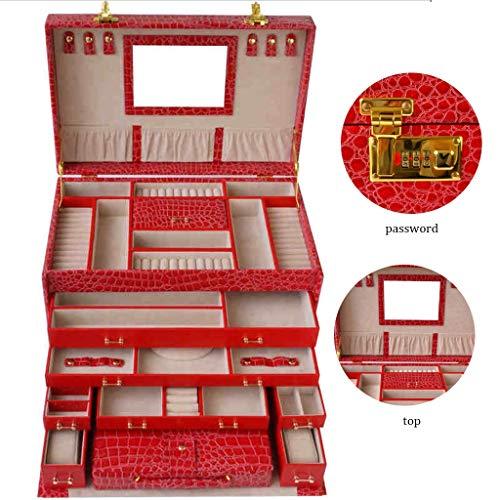 Cajas para joyas Joyero de Cuero Anillo de Almacenamiento Bolsa de Viaje con Llave Collar de Joyas Gran Capacidad de Almacenamiento tocador Regalo de Boda (Color : Red, Size : 27 * 41 * 28cm)