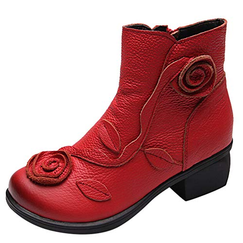 AgrinTol Women Ethnic Style Martin Boots Hand-Stitched Flowers Shoes Leather Retro Boots Red