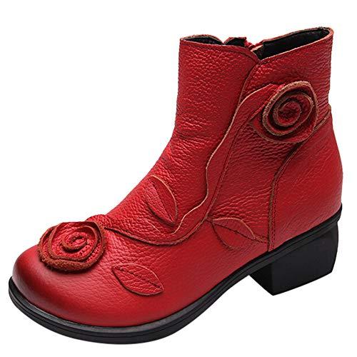 YWLINK Damen ReißVerschluss Stiefeletten Quadratischer Kopf Stiefel Applikation PU Retro Stiefel Flache Schuhe