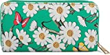 styleBREAKER portafogli con fiori e motivo a farfalla, chiusura con cerniera, portamonete, da donna 02040106, colore:Verde