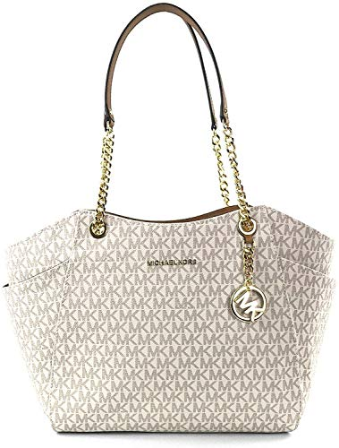 "Size Approximate Measurements: 11""-14"" L x 10.5"" H x 4.5"" D MK signature & Leather Double handles w/ leather & chains. Top zip closure MK Strap Logo, detail on front Exterior side pockets. Interior: 1 zippered pocket & 2 slip pockets Michael Kors sig..."