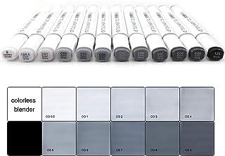 Touchnew Artiste graphique marqueur 6/12/30 Couleurs Tons de gris, à double pointe Art marqueurs pour croquis, dessin 6 Bl...