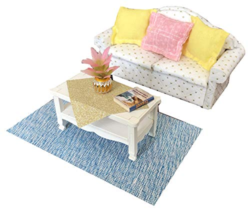 Inusitus DIY Dollhouse Furniture Kit | White Sofa Set with Coffee Table | Miniature Furniture | Dolls House Kits | Requires Assembly | 1/18 Scale (Sofa-White)