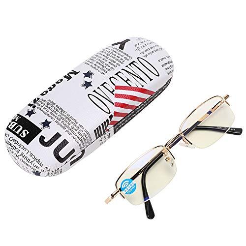Gafas de lectura - Gafas presbiópicas de medio marco Gafas con bloqueo de luz azul con caja de almacenamiento Gafas de metal para ancianos Alivio de la fatiga Gafas de moda de alta definición(+400)