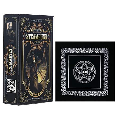 78PCS Tarot-Karten Der Steampunk Tarot mit schwarzem Plüsch Altar Tabellen-Tuch, Pentagram Retro Tarot Tuch für Familien-Versammlung Partei Spielen Kartenspiele