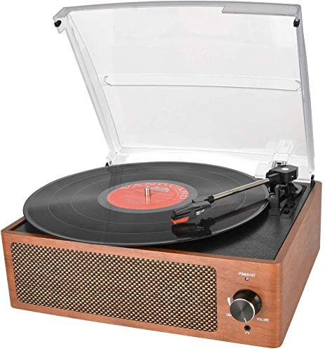 DIGITNOW Bluetooth Record Player Belt-Driven 3-Speed Turntable, Vintage Vinyl Record Players Built-in Stereo Speakers, with Headphone Jack/ Aux Input/ RCA Line Out, Wooden