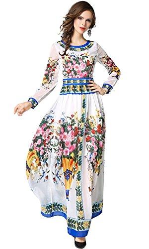 LAI MENG FIVE CATS Women's Floral Print Long Sleeve Boho Empire Waist Pleated Long Maxi Dress White