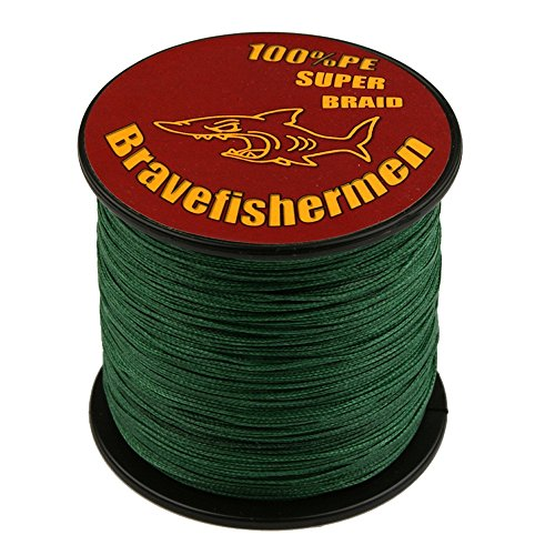 Bravefishermen Dark Green Super Strong PE Braided Fishing line (300M, 100LB)