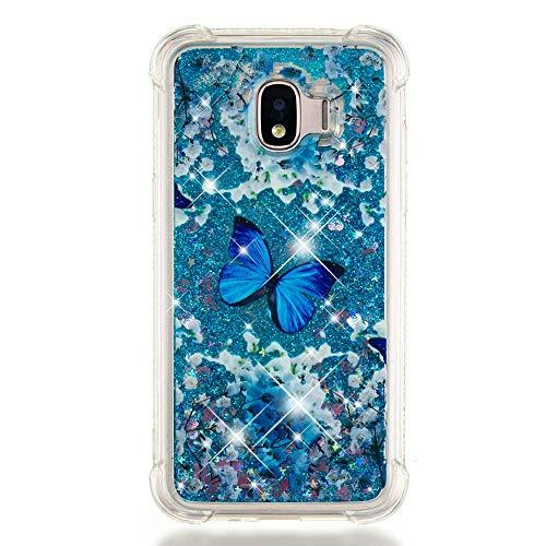 COTDINFOR Coque Liquide pour Galaxy J2 Pro 2018,Liquide Flowing Glitter Silicone Housse Modèle de Dessin Animé TPU Transparente Antichoc Souple Cover pour Samsung J2 Pro 2018 Blue Butterfly YB.