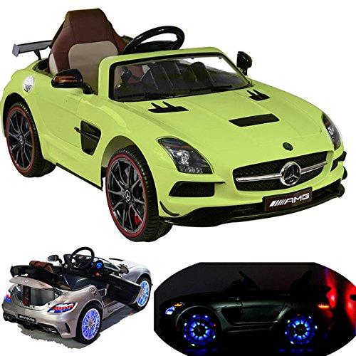 Mercedes-Benz SLS AMG viele LED Effekte Soft Start Kinderauto Kinderfahrzeug Kinder Elektroauto (Grün)