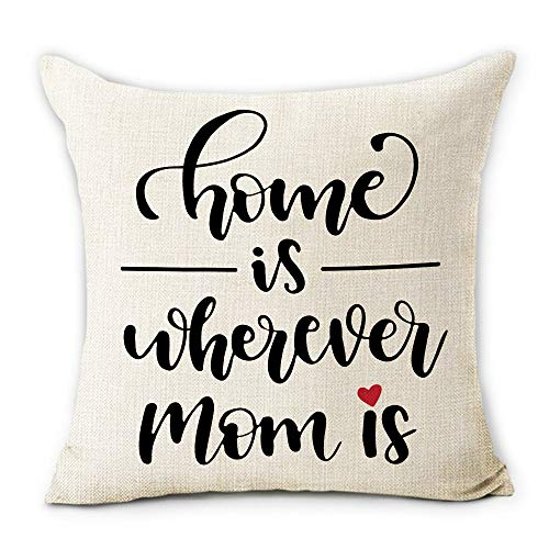 Hexagram Happy Mother's Day Pillow Covers 18 x 18 Inch Black Quote Soft Cotton Linen Square Throw Pillow Cover Cushion Case Fit for Living Room Couch Sofa Indoor Outdoor Home Decor Best Gift for Mommy
