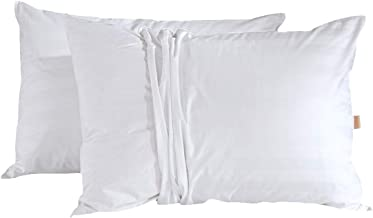 puredown Luxury Goose Down Pillows with 2 Outer Protectors, 50cm*91cm, White, Set of 2