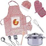 alles-meine.de GmbH 18 TLG. Kochset + Backset - Kinderküche - aus Metall - echt Alu - Blech / Blechtöpfe + Küchenhelfer + Kinderschürze - echt - Topfset Holz Geschirr - Töpfe Koc..