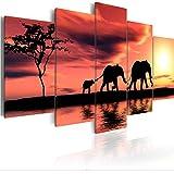 Wuyyii プリント絵画モジュラー写真5ピースキャンバスキリン象風景ポスター壁アート家の装飾現代のベッドサイドの背景D-20X35Cmx2/20X45Cmx2/20X55Cmx1