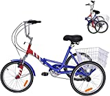 Barbella Adult Folding Tricycles, 7 Speed 20 Inch 3 Wheel Adult Trikes with Large Basket, Foldable Tricycle with Low Step-Through for Adult Men and Women Teens (Stars Strip)