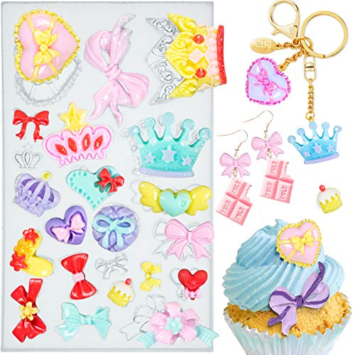 Assorted Bows Crown Heart Silicone Mold Cake Decorating for Sugarcraft, Fondant, Resin, Polymer Clay, Epoxy Resin Casting, Crafting Projects 22-cavity 2021 Updated Version