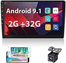 UNITOPSCI Double Din 10.1 Inch Android Car Stereo with GPS Bluetooth 2.5D HD Touch Screen Multimedia Stereo Head Unit Support WiFi FM Radio Dual USB Mirror Link Car MP5 Player + Backup Camera(2G, 32G)