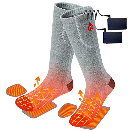 2020 Upgraded Electric Heated Socks,2 Pieces Heating Element 3400mAh Battery Rechargeable Heat Socks for Men Women ,3 Heating Temperature Settings for Cold Winter,Hiking Skiing Foot Warmer