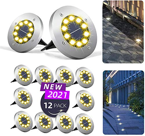Mega-Loopolis 12 Pack 10 LED Solar Ground Lights Upgrade Brighter lamp Beads Solar Garden Lamp Disk Lights Garden Lights Waterproof Suitable for Patio, Yard, Lawn, Passage, Driveway