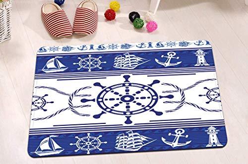 vrupi Rueda Anclaje Faro Vela Cuerda Marinero patrón Alfombra Azul Blanco Alfombra baño náutico Tema Marino Alfombra Decorativa Alfombra Felpa Suave Terciopelo 40 * 60cm